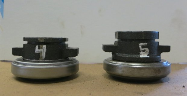 Four speed bearing on the right, 5 speed on the left. Amazing what a difference half an inch makes (that's what she said).