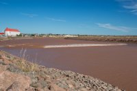 Tidal bore heading up the river in Moncton