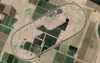 The test center, as seen from space. They farm in the middle of the oval to keep dust down and maintain water rights.
