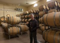 Inside the barrel room at Childress