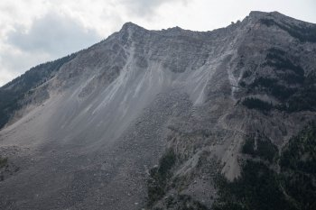 What's left of the mountaintop. The damage is 100 years old this year.