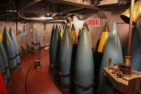 "Some of the 16"" shells in storage in a forward turret"