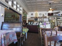 Inside the Purple Fiddle, a re-purposed old grocery store