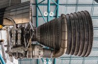 One of five F-1 rocket engines on the first stage of the Saturn V