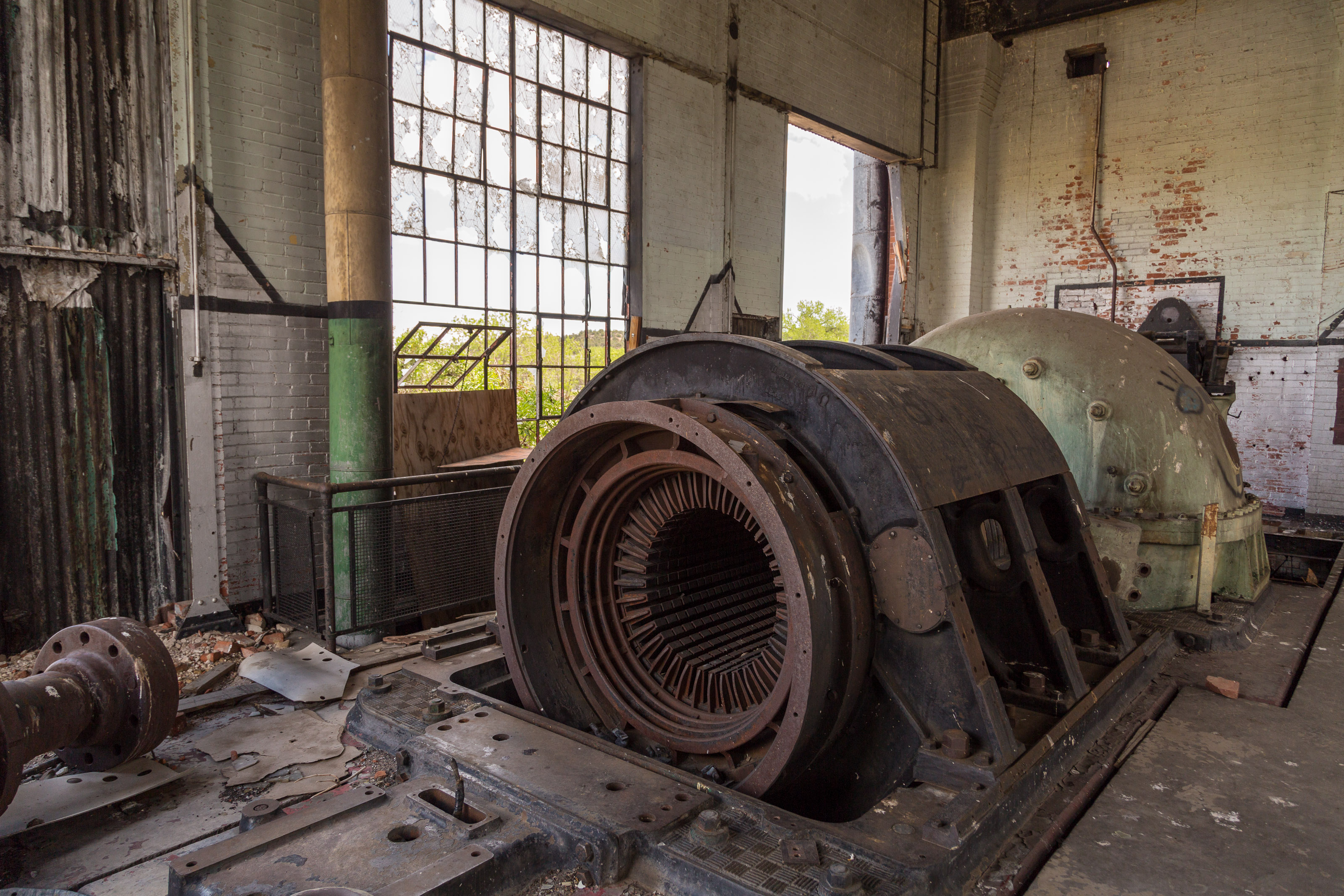 Another view of one of the generators, completely looted of any copper it had in it