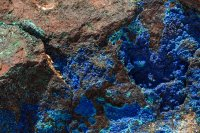 Azurite and malachite on a big 'ol rock near the mine