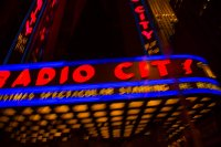 Artsy shot of Radio City from a moving car, courtesy Lectacave