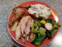 My Thanksgiving. I subbed chicken and skipped the stuffing, but it was good