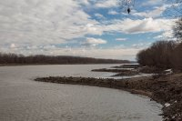 Breakwaters along the Missouri River levee, site of some epic floods