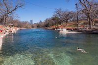 The Barton Springs pool, on a nice enough day to swim
