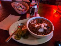 Texas chili, with all the fixin's