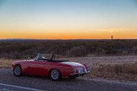 The roadster photobombing the sunset